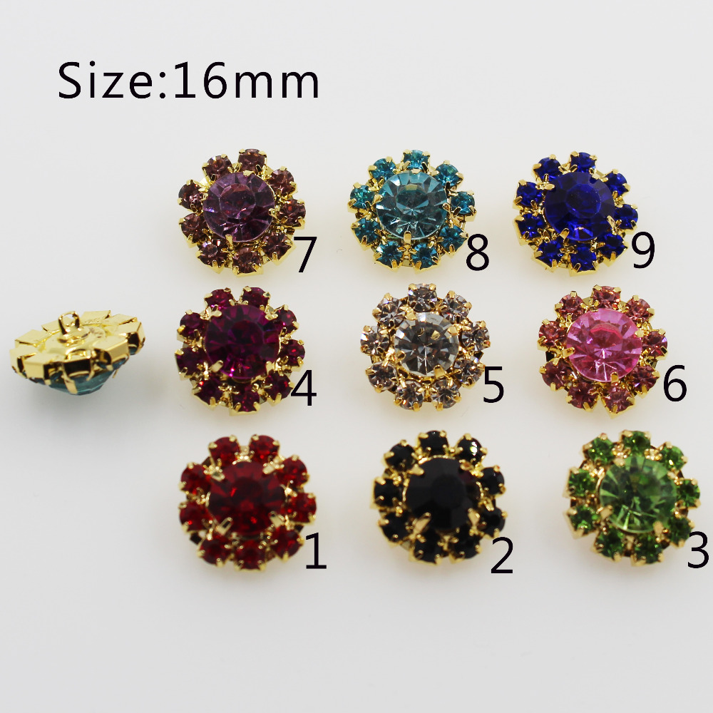 Hot sale 10Pc/16MM Golden Metal rhinestone buttons For sewing Clothing bottons craft supplies Decoration rhinestone baby button