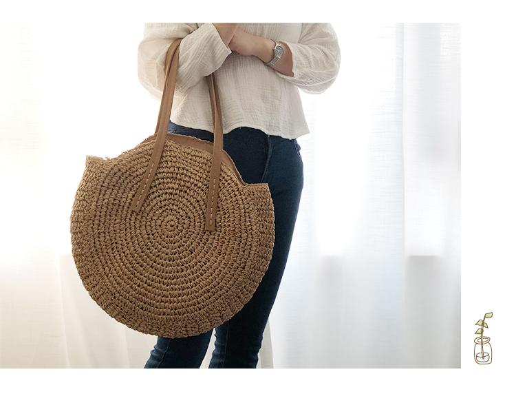 Round Straw Beach Bag Vintage Handmade Woven Shoulder Bag Raffia circle Rattan bags Bohemian Summer Vacation Casual Bags 9