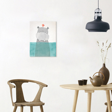Cute Nordic Modern Animal Hippo Wall Art Canvas Painting Poster Print Decorative Picture for Children Room Livingroom Home Decor