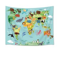 World Map Tapestry Animal Tapestry Wall Hanging Cartoon Wild Ocean and Land Creature Distribution Map Wall Blanket Kids Bedroom