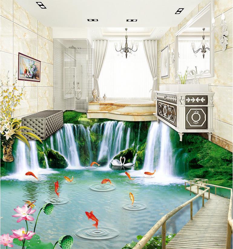3d floor painting wallpaper Natural wood bridge waterfall 3D floor ...