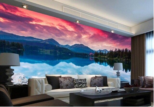 3d carta da parati natura scenic lago di montagna photo for Carta parete adesiva
