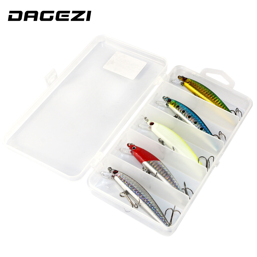 DAGEZI lure set 3D Eyes Fishing Lures with box Minnow 5pcs/lot fishing bait 8.5cm/7g Luminous Long Fishing Tackle 800pcs suspend fishing lures 90mm 7g 2 5m dive artificial bait plastic shad minnow 3d eyes wobbler bass lure fishing tackle