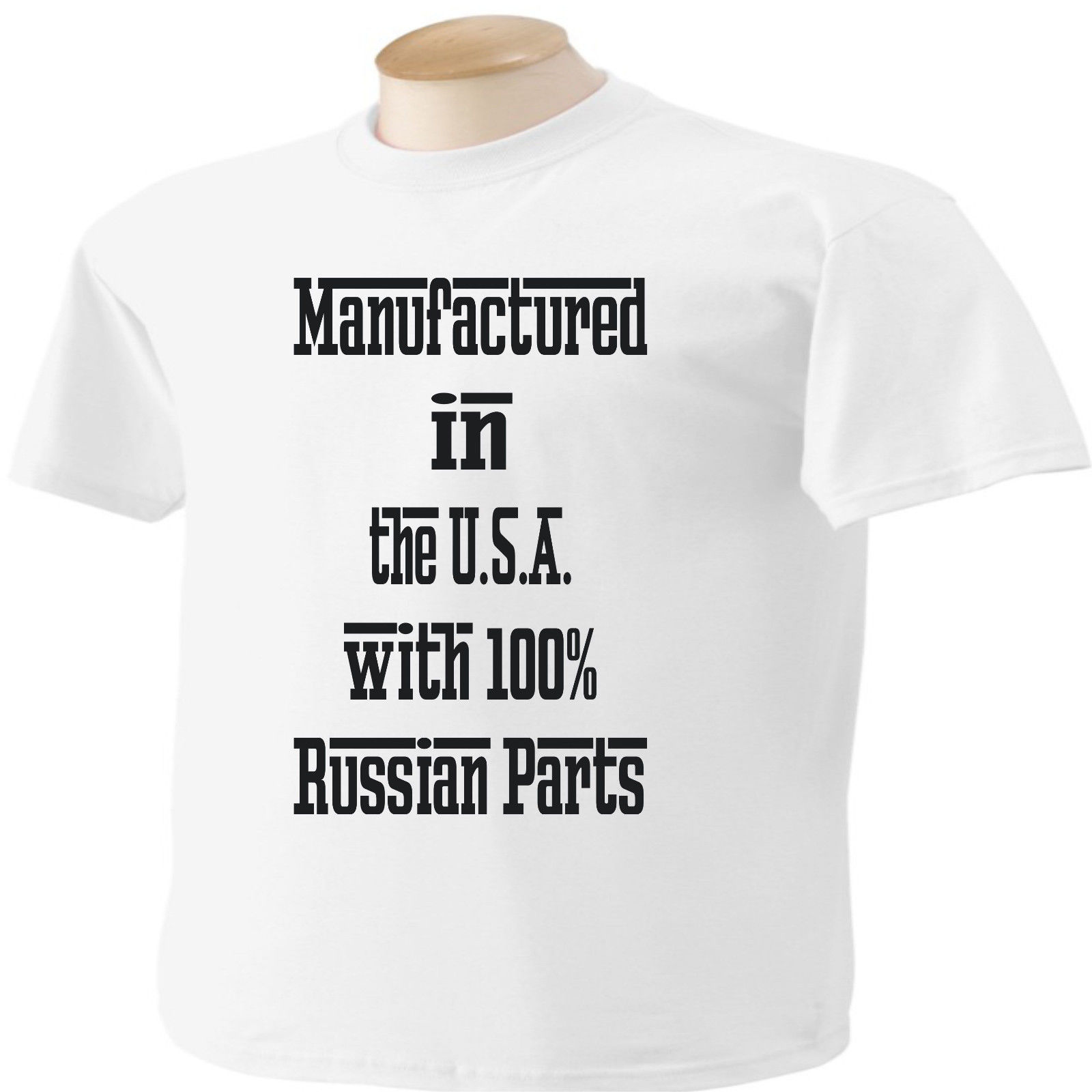 Manufactured in the USA with 100 Russian Parts T Shirt Russia Free shipping Harajuku Tops t shirt Fashion Classic Unique in T Shirts from Men 39 s Clothing