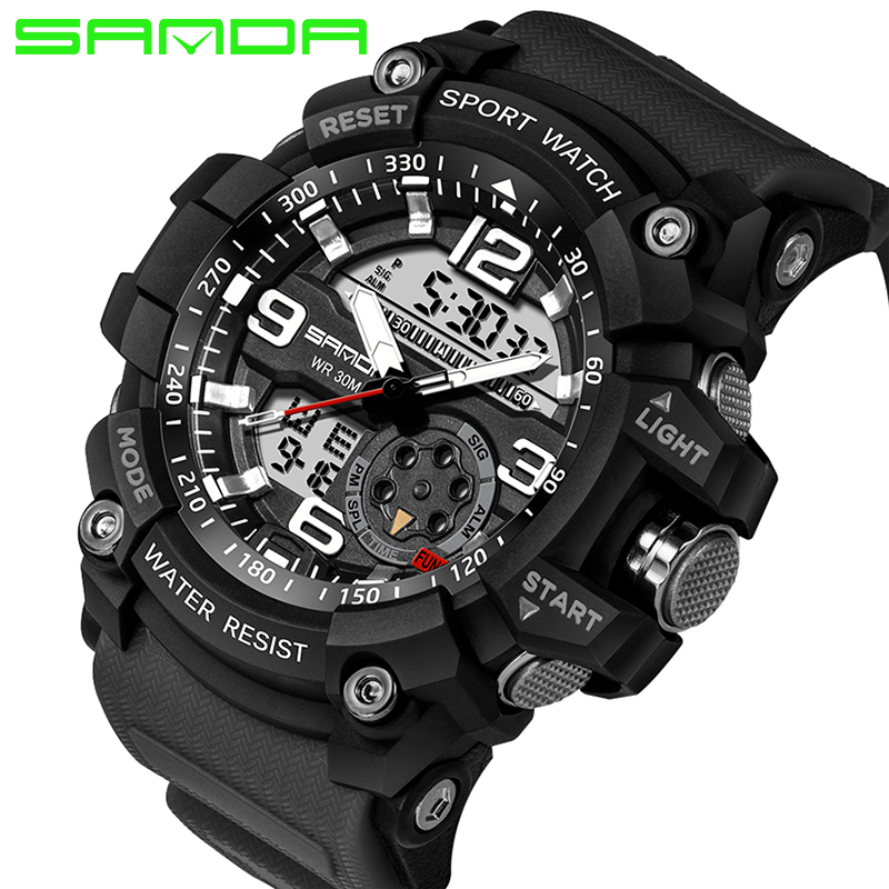 2017 SANDA Military Watch Men Waterproof Sport Watch For Mens Watches Top Brand Luxury Clock Camping Dive relogio masculino 759 2017 sanda fashion men s watch waterproof mens watches top brand luxury clock relojes hombre leather band relogio masculino 189