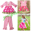 2016 little baby girls striped ruffle pant sets mustard pie remake clothing sets wholesale children boutique outfies