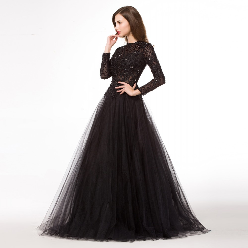 Long Puffy Black Prom Dress Long Sleeve 2016 Ball Gown See Through ...