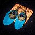 Женские серьги с синими перьями, в этническом стиле