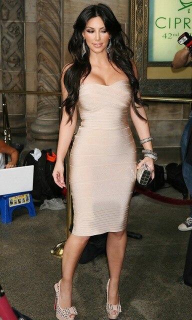 Kim Kardashian Strapless Sexy Women Rayon Bodycon Dress 1