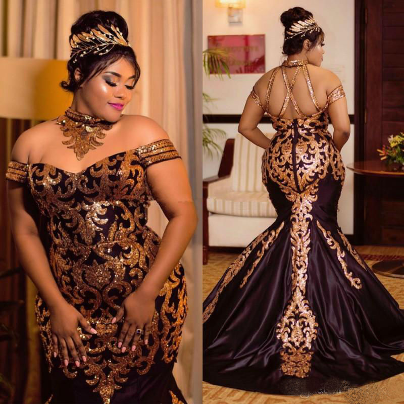 Sparkly Gold Sequined Mermaid Prom Dresses 2019 Plus Size Halter Off The Shoulder African Formal Dress Satin Sweep Train
