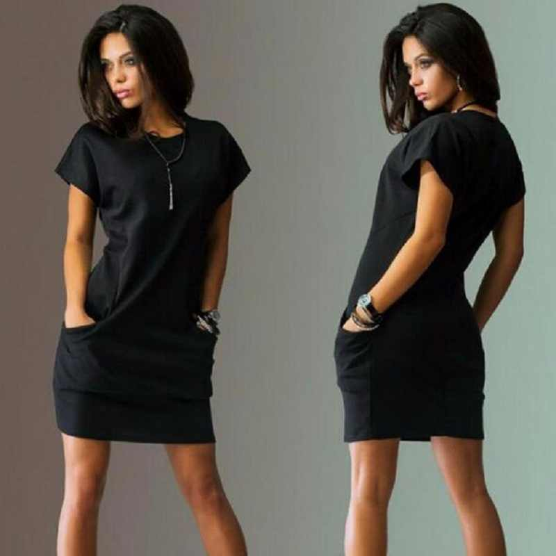 c698f74a8fde 2018 New Summer Women Dress Mini Sexy Casual Dresses Short Sleeve Evening  Party Black Bule Red