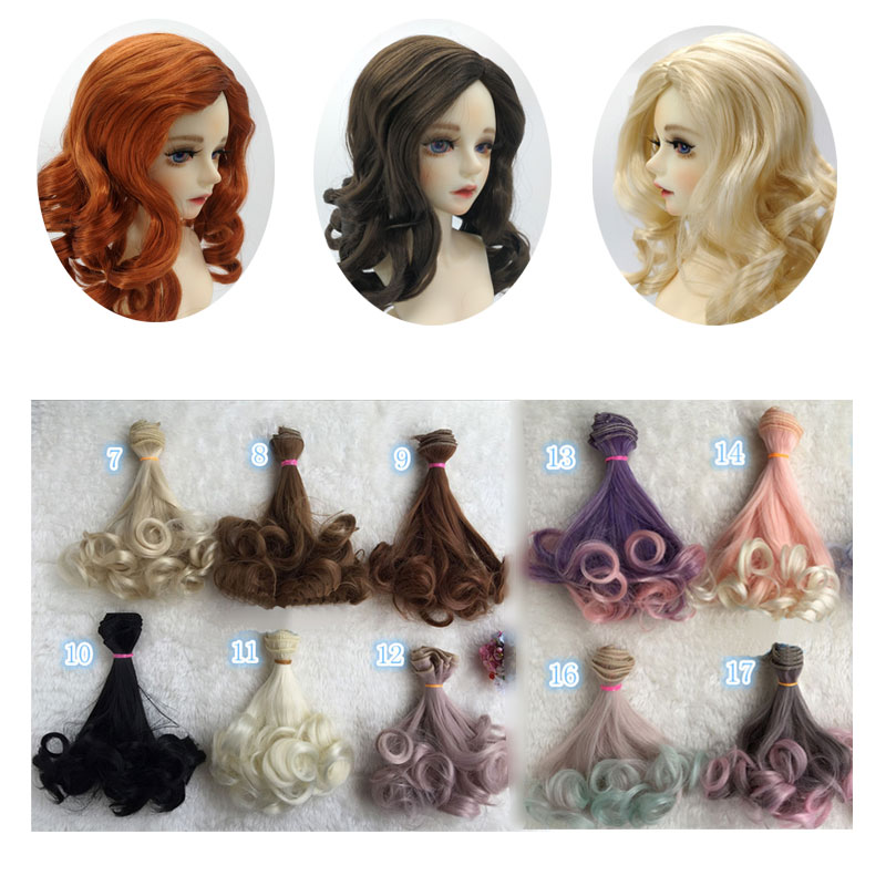 Fashion 15*100cm DIY Mini Tresses Doll Wig High-Temperature Material Straight Hair Wig For BJD High-Temperature Doll Accessories