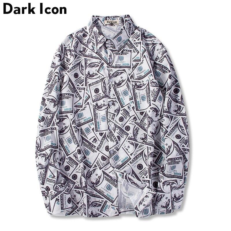 Dark Icon US Dollar Full Print Men's Shirts 2018New Hip Hop Shirt Men Long Sleeved Casual Shirts For Men Streewear Man Clothing