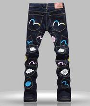 Новые Люди Печать Черный Длинные Брюки Мода Slim Джинсы
