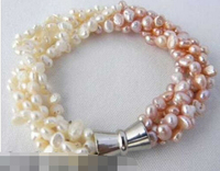 Hot Sell 12735 5strands White Pink Baroque Freshwater Pearl Bracelet Top Quality Free Shipping