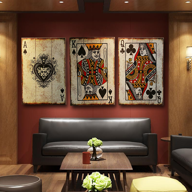 Retro CARDS Wooden Poker for Sign Hotel Cafe Bar Wall Decor Sign Vintage Home Decor Plaque