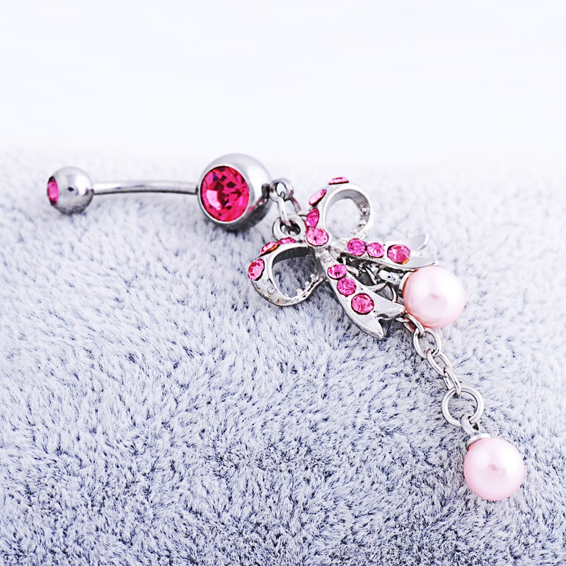 HTB1UA.0NFXXXXc3aXXXq6xXFXXXO Sexy Butterfly Bow Dangling Belly Button Ring For Women - 2 Colors
