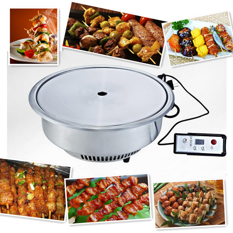 220V Commercial Electric BBQ Grill Smokeless And Non-stick Round Embedded Electric Grill Free Shipping 220v electric bbq grade machine non stick commercial and household barbecue grill smokeless machine square and round plate
