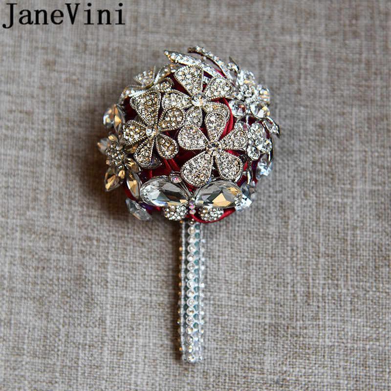 JaneVini di Lusso In Rilievo di Cerimonia Nuziale Corpetti Sposo Fiore All'occhiello Spille degli uomini di Diamante di Cristallo di Cerimonia Nuziale Fiori di Perle In Rilievo Spilla Fiori