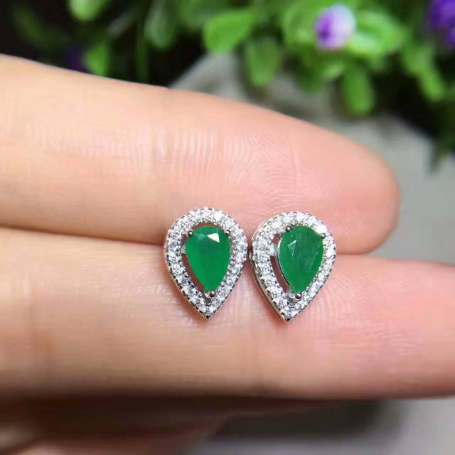 Fashion Natural Emerald Stud Earrings Gem Stone Small Water Droplets S925 Silver