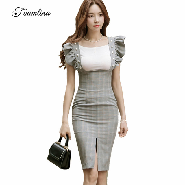 da6019864068c US $33.9  Foamlina Women Bodycon Dress Set White T shirt + Pearls Ruffles  Front Slit Sheath Dress Suits Vintage Plaid Office Ladies Dress-in Women's  ...