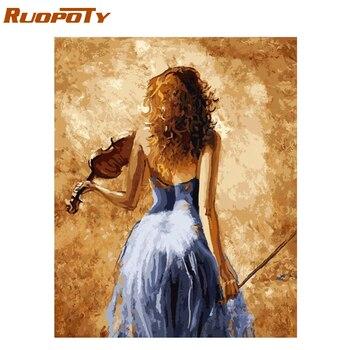 Ruopoty рамка скрипка Womem DIY картина по номерам Современная Настенная картина с каллиграфией акриловая Раскраска по номерам для домашнего деко... >> RUOPOTY RUOPOTY Painting Store