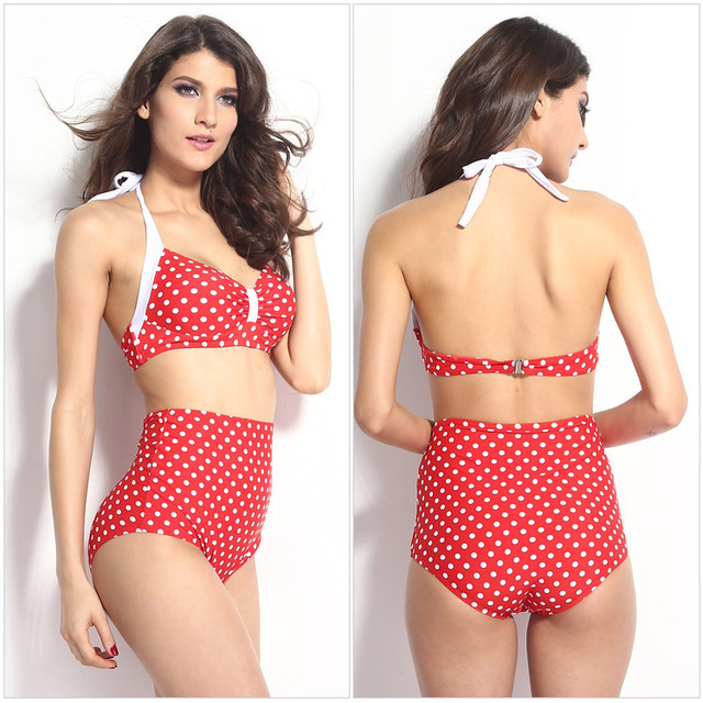 861b76c6d19 Vintage Swimming Suit for Women Red Black Polka Dot Print High Waisted  Bathing Suits Large Bikini Sets Plus Size XL