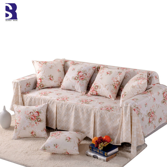 Sunnyrain 1 Piece Pastoral Sofa Covers For Living Room L Shape