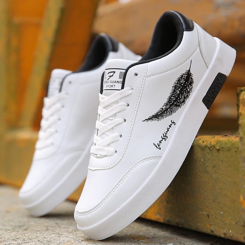 BORRUICE Men Shoes Spring Autumn Casual Leather Flat Shoes Lace-up Low Top White Male Sneakers tenis masculino adulto Shoes zapatillas de moda 2019 hombre