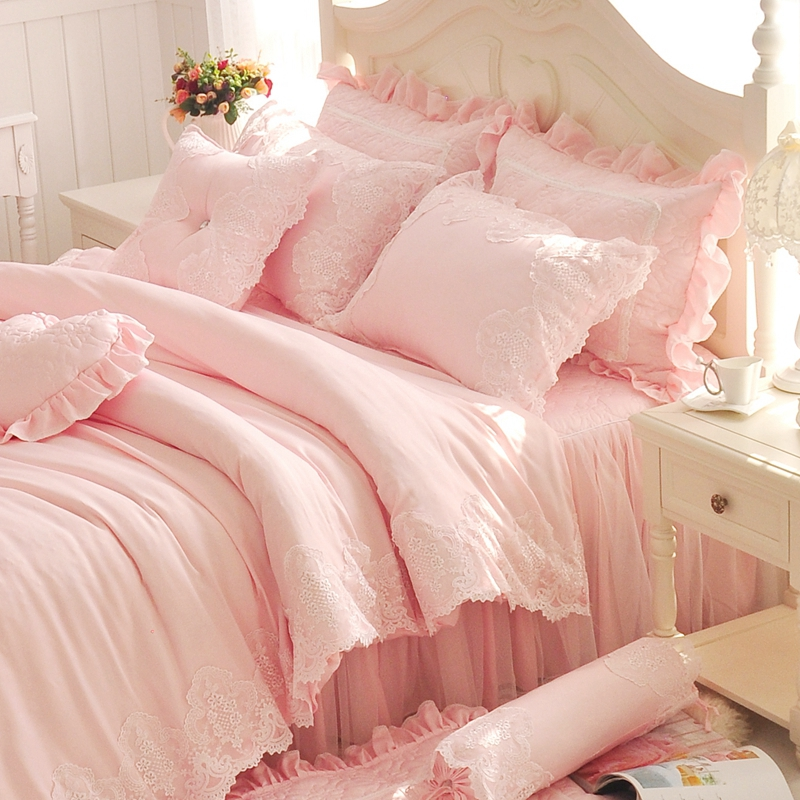 Diamond Lace Princess Bedding Sets Luxury Pink Ruffles Bed Skirt Solid  Color Duvet Cover Bedspread Bedclothes