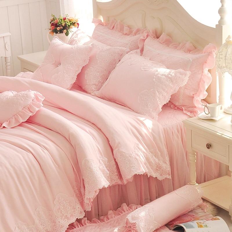 Diamant Lace Printesa Seturi de paturi Luxury Ruffles Rochie de pat Rochie de culoare Solid Culoarea Duvet Cover Bedsclothes Bedclothes Bed Sheet Cotton