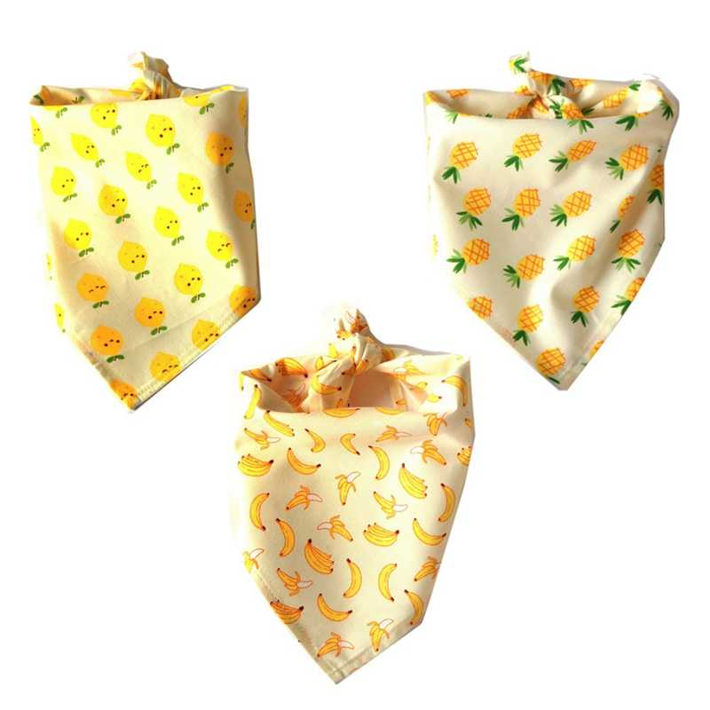 Pet Saliva Towel Small Dogs Bandana Accessories Cotton Pear Pineapple Banana Pattern Collar For party Pets Supplies Cat Products