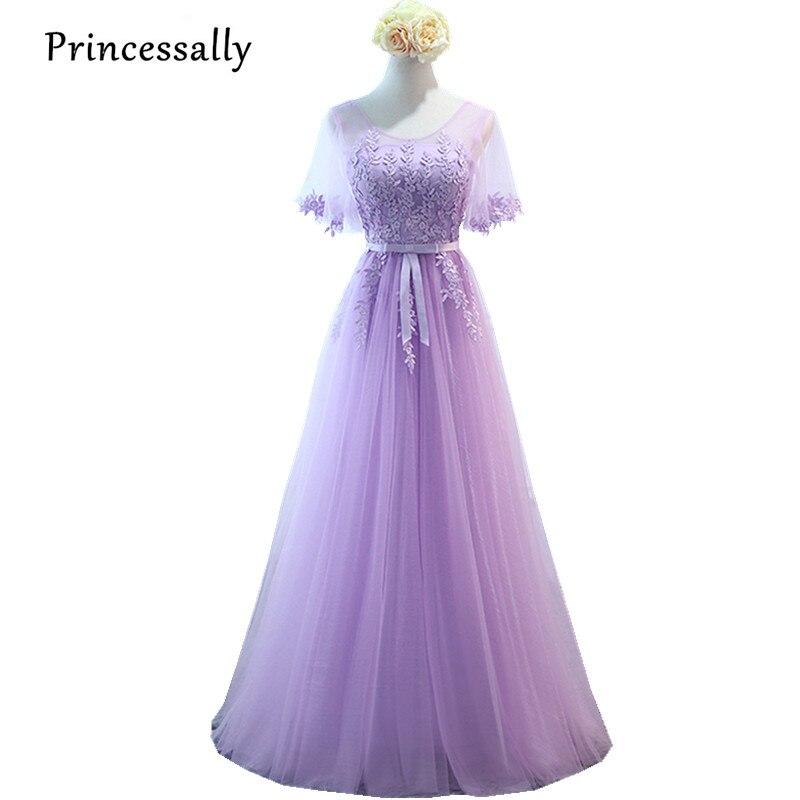 Robe De Soriee New Lilac Bridesmaid Dresses Purple Long Short Sleeve Appliques Lace Elegant Bride Formal Wedding Party Gown
