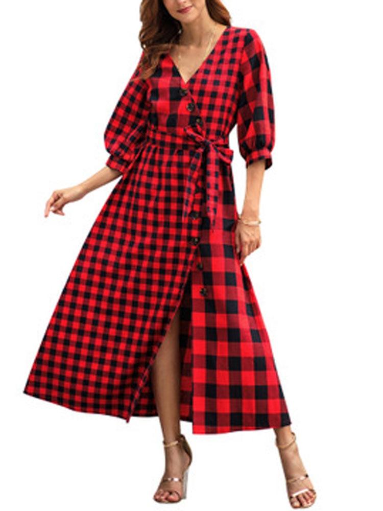 HEE GRAND 2019 Printemps Nouvelle Robe de Femmes Plaid Demi Manches Vintage Robe Col V Mi-taille Patchwork Fasion Casual robe WQL5777