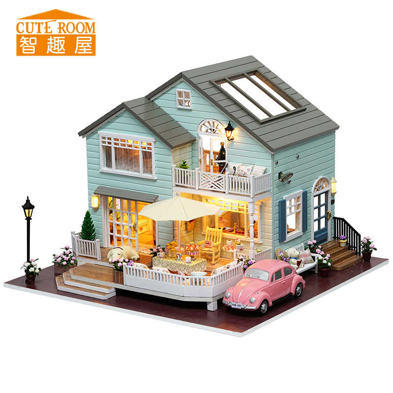 Assemble DIY Doll House Toy Wooden Miniatura Doll Houses Miniature Dollhouse toys With Furniture LED Lights Birthday Gift A035