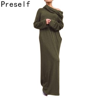 Preself Loose Hooded Maxi Dresses Womens Knit Off Shoulder Wrap