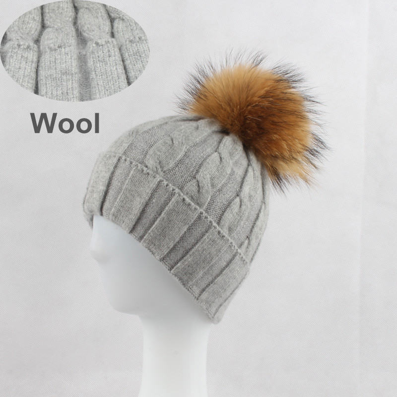 Women Real Wool Skullies Beanies Hats 15CM Raccoon Fur Pom Pom Hat Female Winter Warm Caps Fashion Headgear LF4069 hot skullies beanies winter hat pom pom caps for women girl vintage solid hemming warm spring autumn hat female wsep21