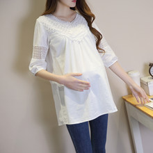 1756263c5e669 Spring Fashion Maternity T-shirts Lace Patchwork Loose Clothes for Pregnant  Women Summer Office Work Pregnancy Tops Tunic Shirt