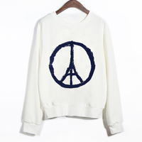 SexeMara KNITTING Pray for Paris Harajuku 3d Pattern Crewneck Sweatshirt Hoodie Sweats Outwear Streetwear Tracksuit