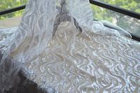 Gold Leaves Embroidery Lace Fabric Sequin Embroidery Classical Lace Fabric Evening Dress Fabric Material DIY