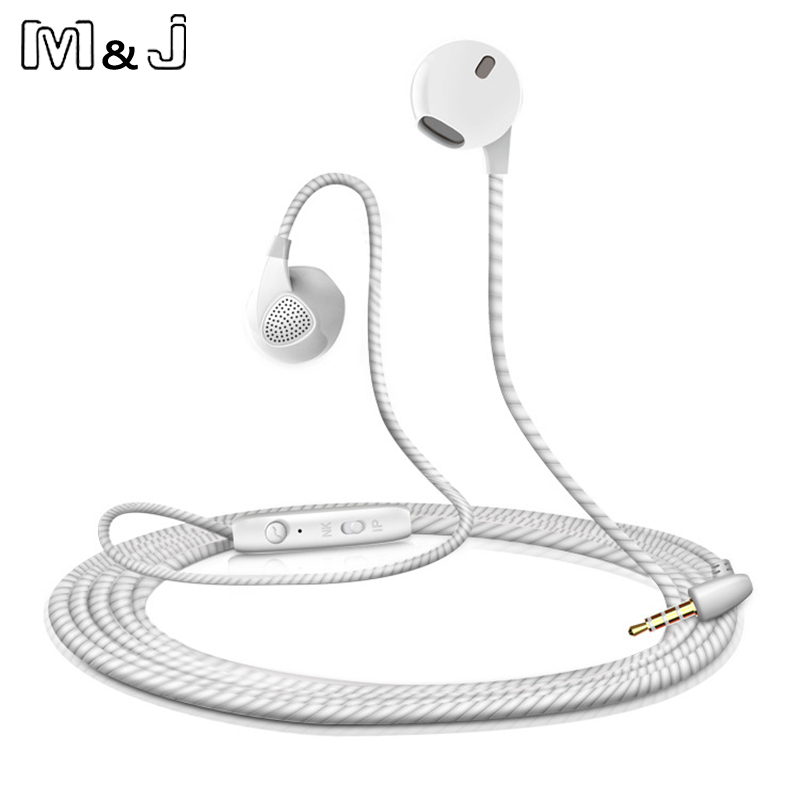 M & j earphone untuk iphone 6 6 s 5 5 s headphons dengan mikrofon 3.5mm jack bass headset untuk apple xiaomi apple sport headphone