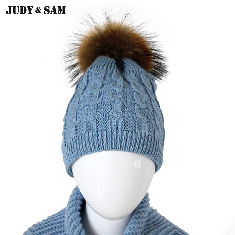 Brand New 100% Cotton Soft and Warm Winter Caps for Boy with Detachable Natural Color Real Raccoon Fur Pom Poms Kids Hat Girl new star spring cotton baby hat for 6 months 2 years with fluffy raccoon fox fur pom poms touca kids caps for boys and girls