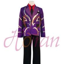 New Japanese Anime Tokyo Ghoul Shuu Tsukiyama Purple uniform jacket shirt tie pant cosplay costume