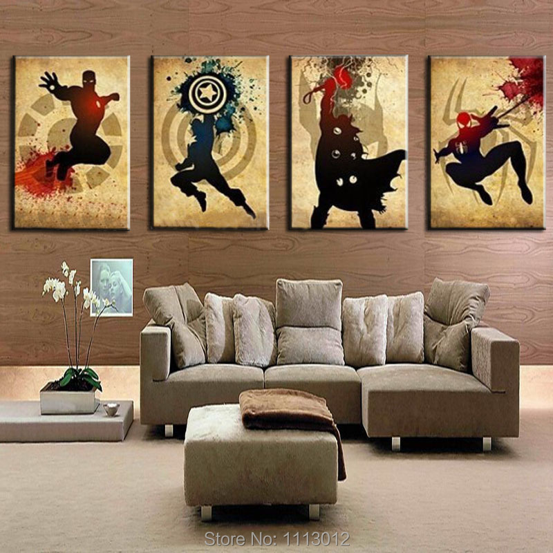 Les Avengers! Iron man, Thor Captain America, Spiderman! Peinture à l'huile abstraite moderne faite à la main Marvel Comics Art de toile de super-héros - 6