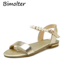 Bimolter New Genuine Leather Fashion Gladiator Sandals For Women Casual Pearl Flat Shoes Ladies Rome Style Sandal LSEA015