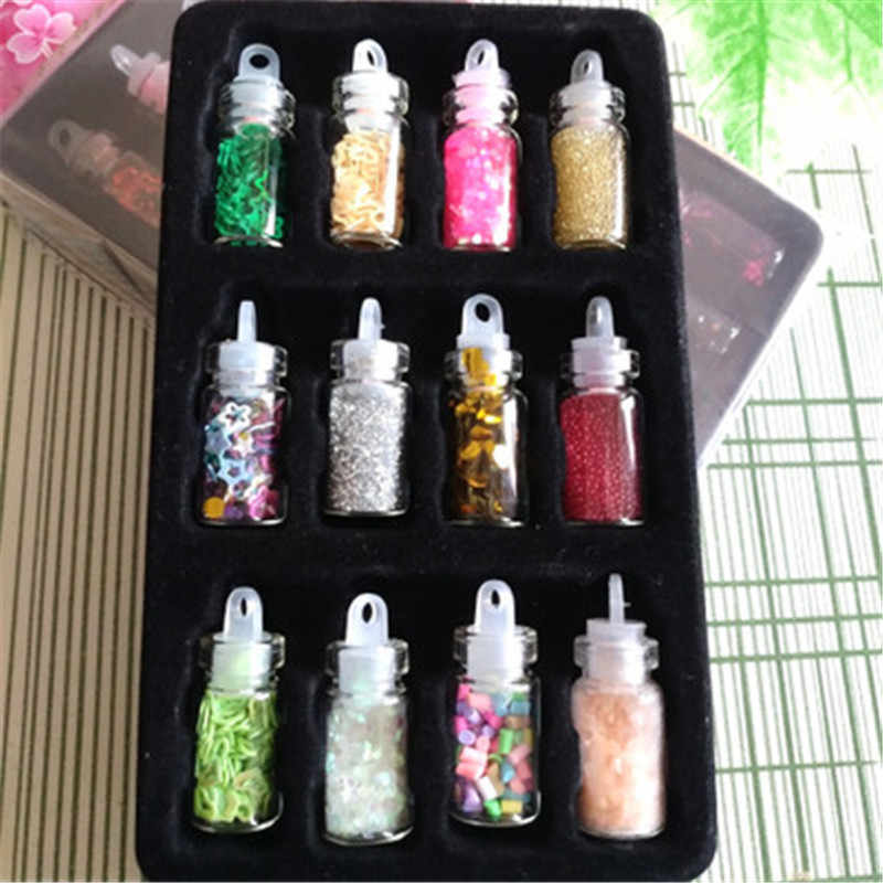 12pcs/lot Sequin Filler Clear/Fluffy Polymer Slime Toys for Children Charms Lizun Modeling Clay DIY Kit Accessories Kids