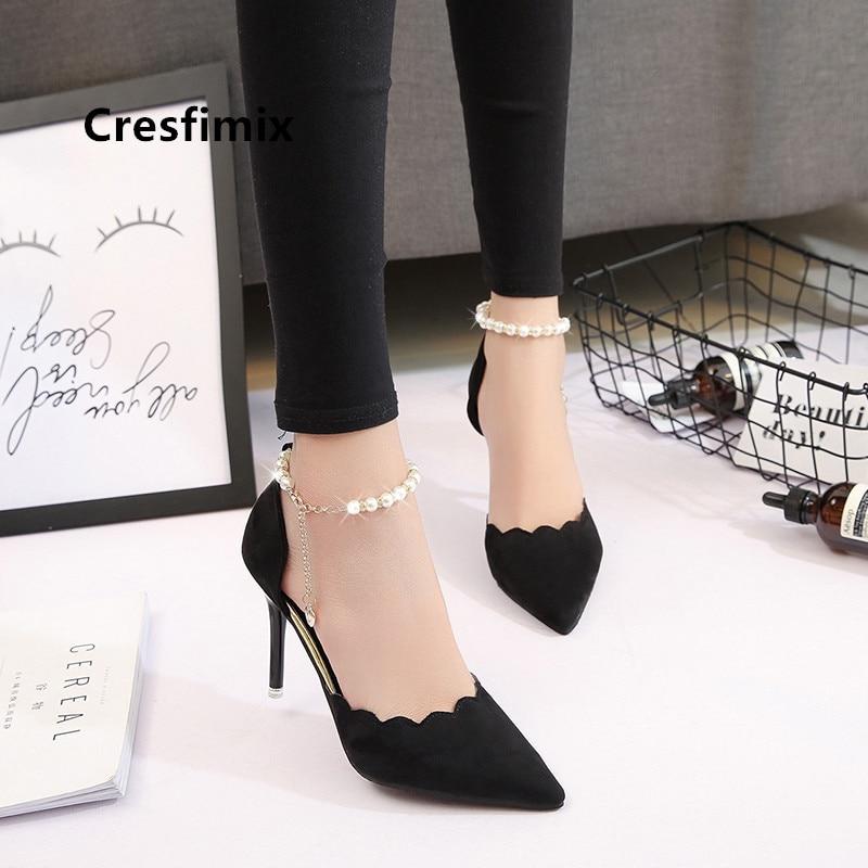 Cresfimix Women Fashion Comfortable Sweet Pearl Black High Heel Shoes Lady Cute Pointed Toe Buckle Clip High Heel Pumps B2920