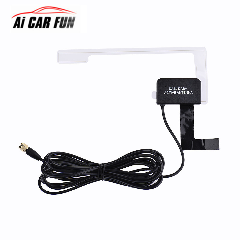 Ai Car Fun DAB/DAB+Antenna Installed Below Window Glass Car Radio Aerial Antenna SMA Plug Signal Amplifier Strong Receiving acosound s210 mini hearing amplifiers digital hearing aids small in the ear cic hearing aid ear aid for the elderly