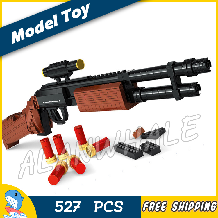 527PCS New Model Toy M870 Shot Gun Weapon For Military Assault Soldier Building Kit Blocks Toys Shell Brick Compitable with Lego 1 1 508pcs mp7 submachine assault gun weapon swat arms model 3d diy building blocks bricks kids toy gift compatiable with lego