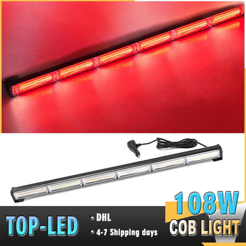 CYAN SOIL BAY 35 108W COB LED Emergency Warning Traffic Advisor Security Strobe Light Bar Red Flashing Lamp